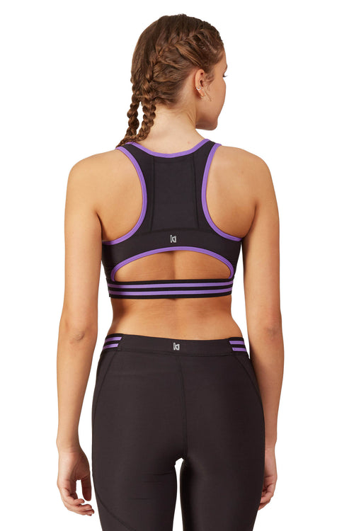 Neon Color Blocked Sports Bra with Half Moon Back / Amethyst