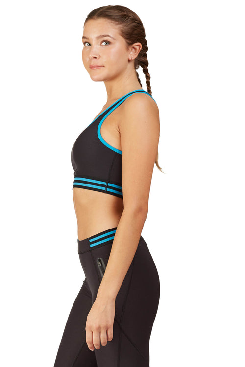 Neon Color Blocked Sports Bra with Half Moon Back / Tidal Wave