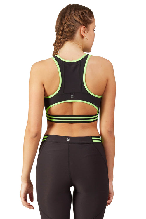 Neon Color Blocked Sports Bra with Half Moon Back / Ki Lime