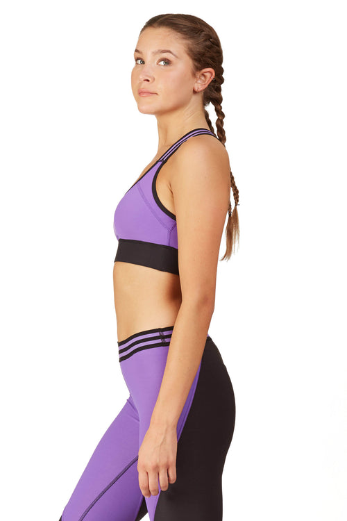 Neon Color Blocked Sports Bra / Amethyst