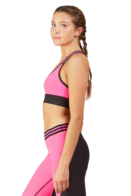 Neon Color Blocked Sports Bra / Pink Sunset