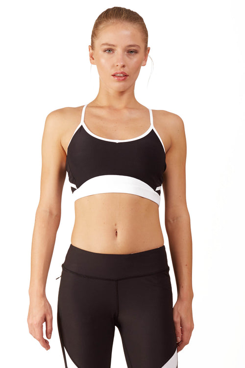 Neon Color Blocked Sports Bra / White