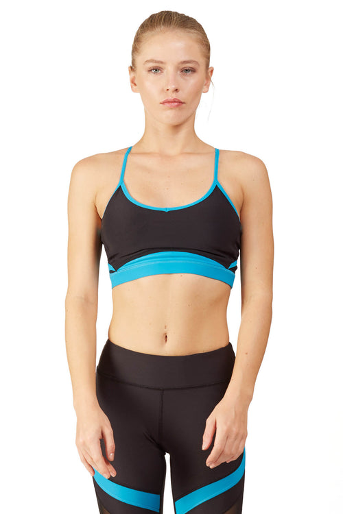 Neon Color Blocked Sports Bra / Tidal Wave