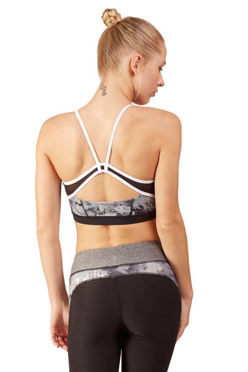 Print Blocked Sports Bra / B&W Floral