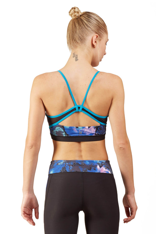 Print Blocked Sports Bra / Blue Floral