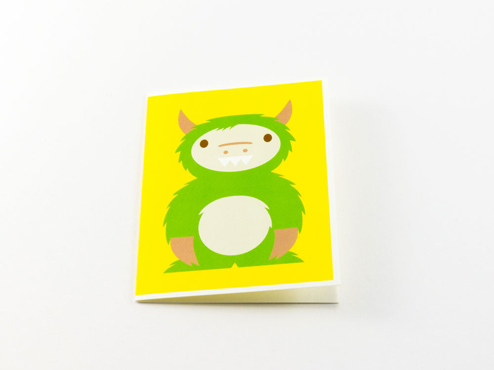 toyhood store's green monster greeting card from dicky bird