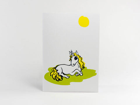 Sunbathing Alice Unicorn Greeting Card
