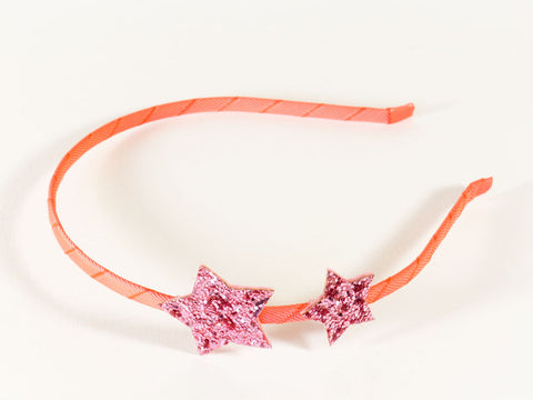 Pink Glitter Star Alice Band