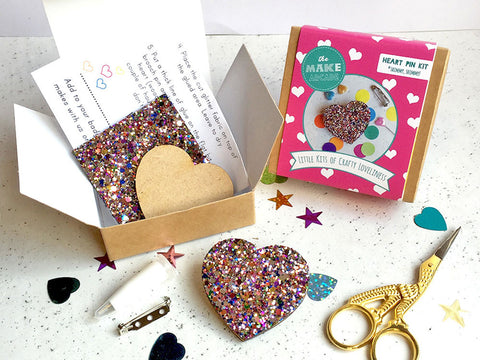 toyhood store's glitter heart badge making kit by themakearcade