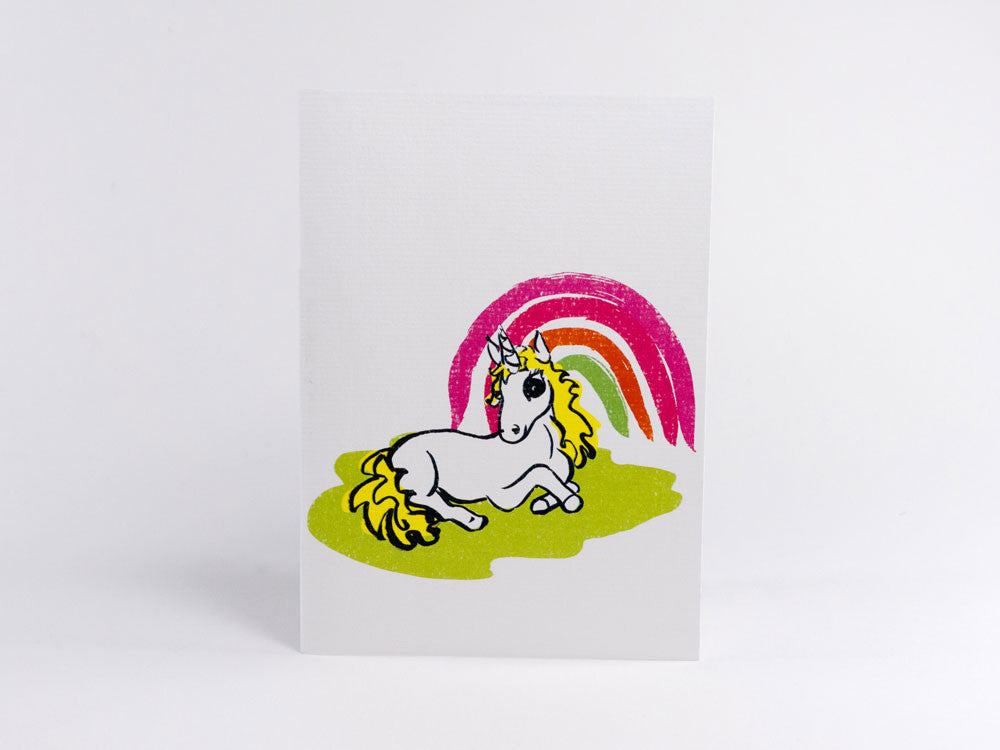 toyhood store's rainbow alice unicorn greeting card by peppy chow