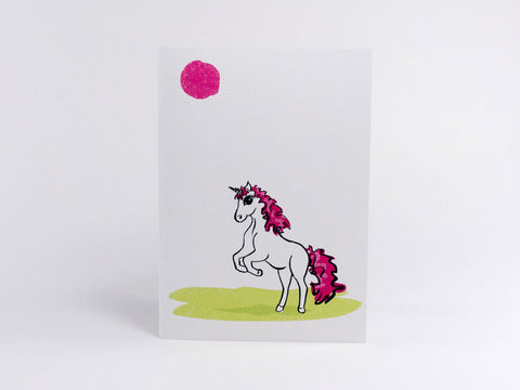Sunbathing Robyn Unicorn Greeting Card