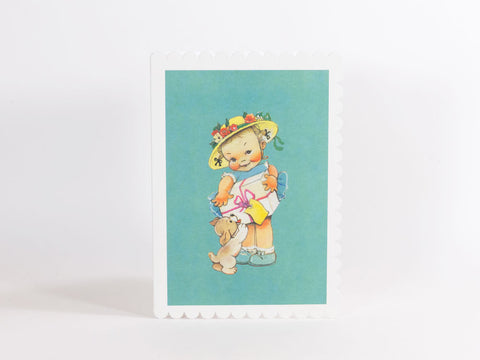 Mabel Lucie Attwell Greeting Card - Girl with Present