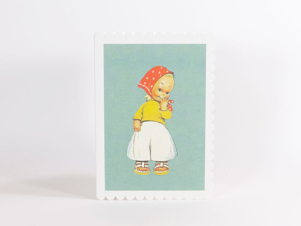 toyhood store's mabel lucie atwell greeting cards girl with headscarf
