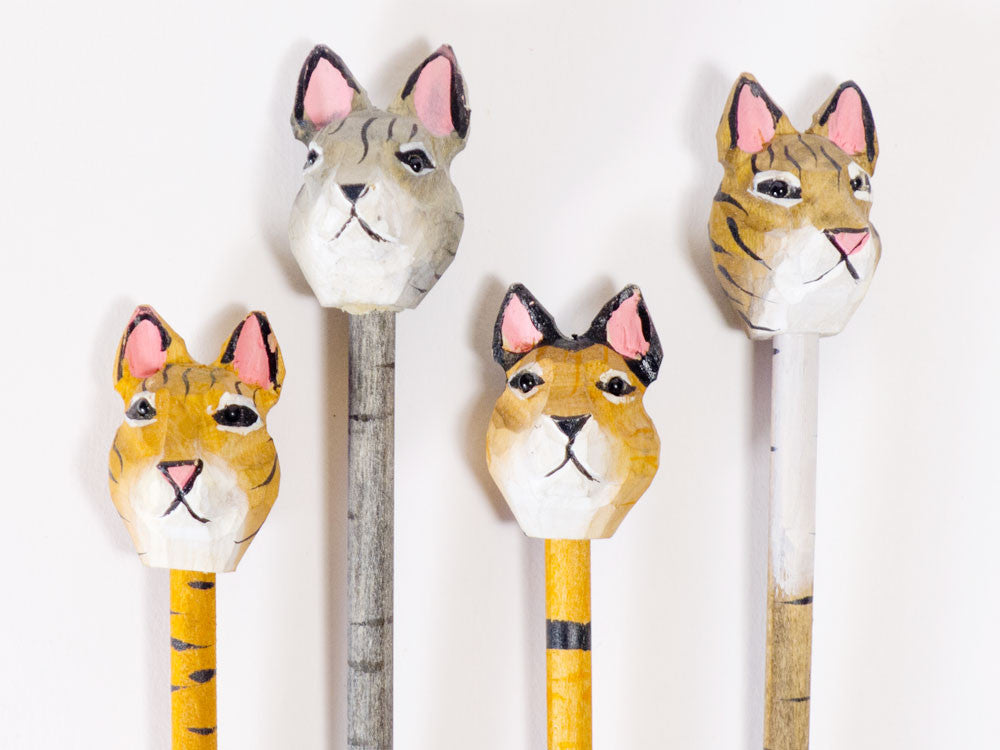 toyhood store's kitty cat wood carved pencil by sass & belle