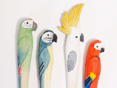 Parrot Paradise Carved Wood Pen