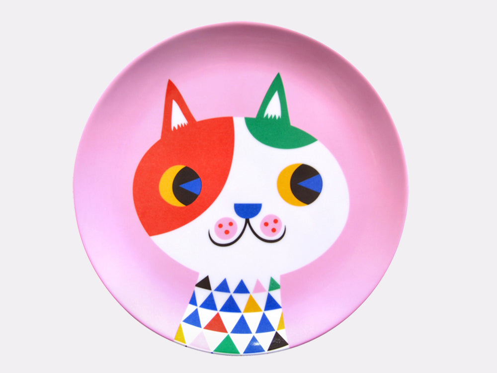 toyhood store's melamine pink cat plate by petit moneky