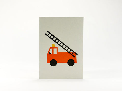 toyhood store's bits and bots fire engine mini greeting card by 1973
