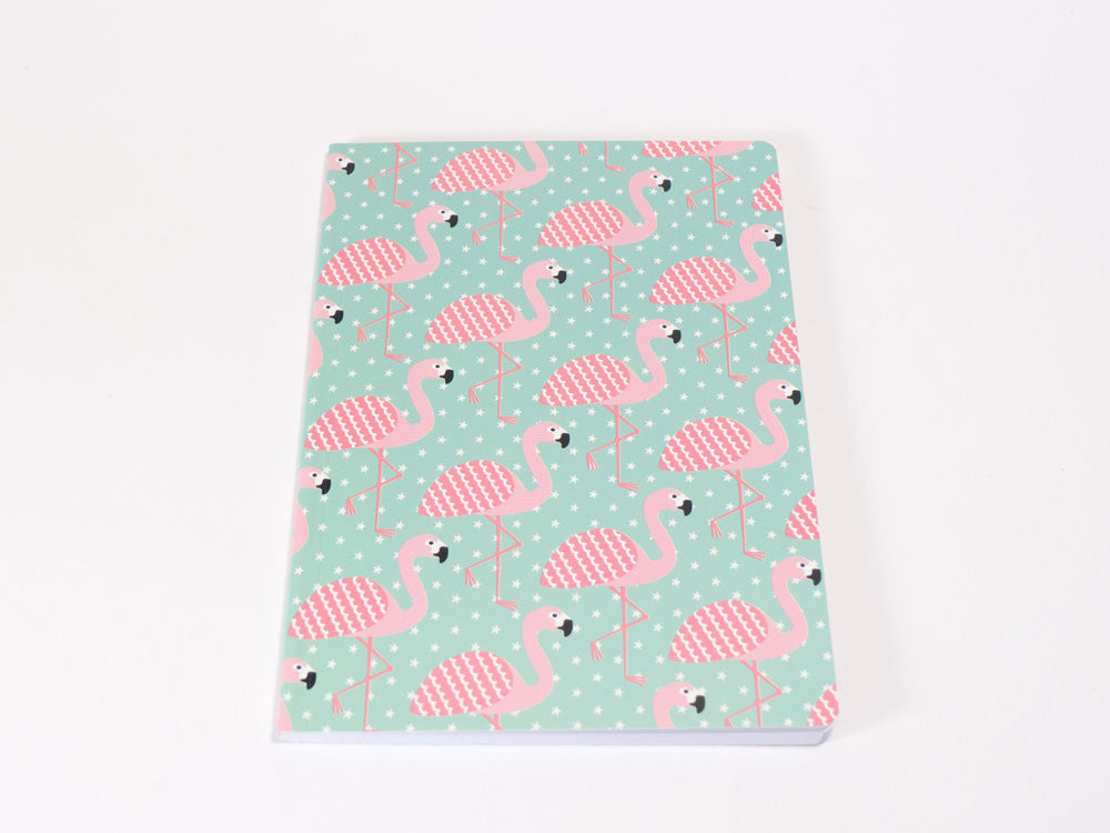 toyhood store's tropical summer flamingo A5 notebook by sass and belle