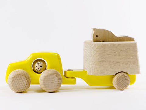 Wooden Car and Horse Trailer