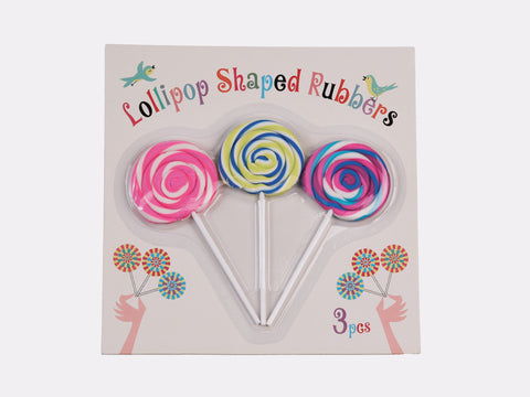Set Of 3 Lollipop Shaped Rubbers