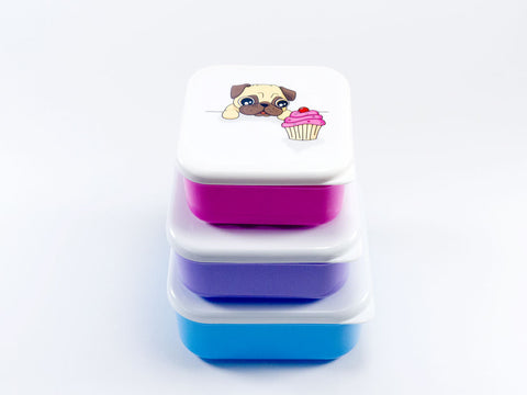Pug Lunch Boxes (set of 3)
