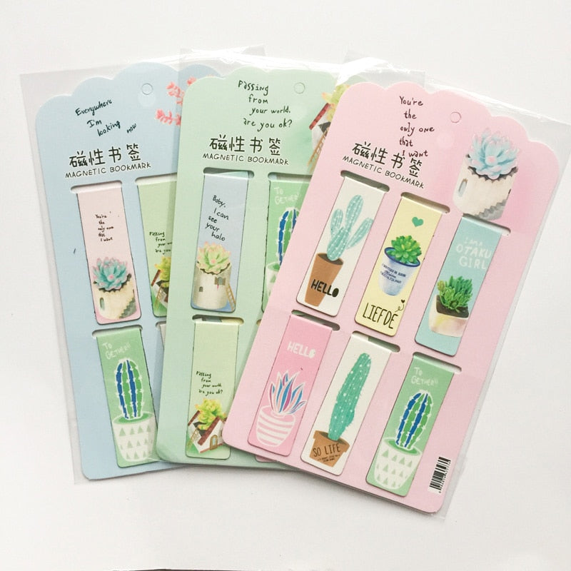 Cactus Pastel Color Magnetic Bookmarks (Set of 6)