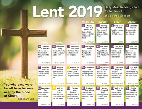 Lent 2019 Catholic Calendar