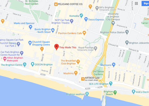 They Made This Brighton shop location map