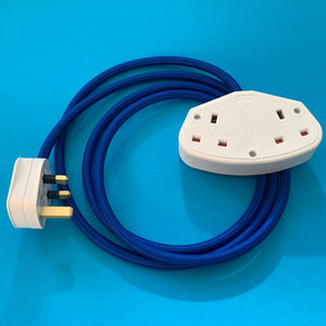 Blue extension lead with white socket and plug