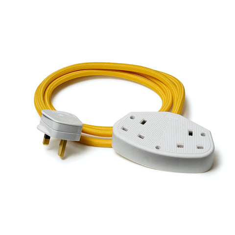 Yellow extension lead with white socket and plug