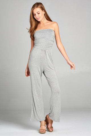 b53ed22fe72 HEATHER GRAY tube top wide leg rayon spandex jumpsuit