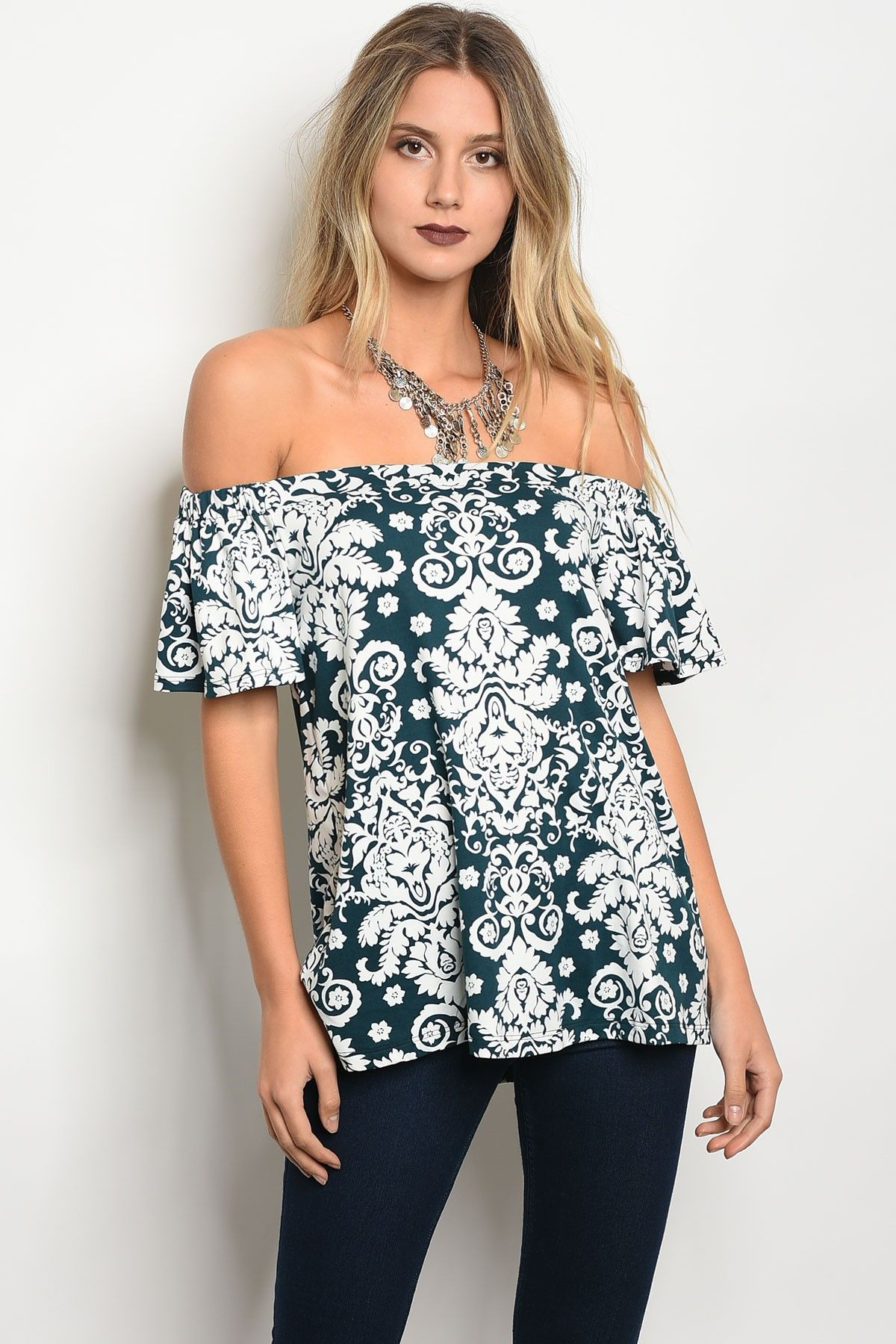 d44446a06fb76 Dark green 3 4 sleeve off the shoulder floral printed top - Earth Angels  Boutique