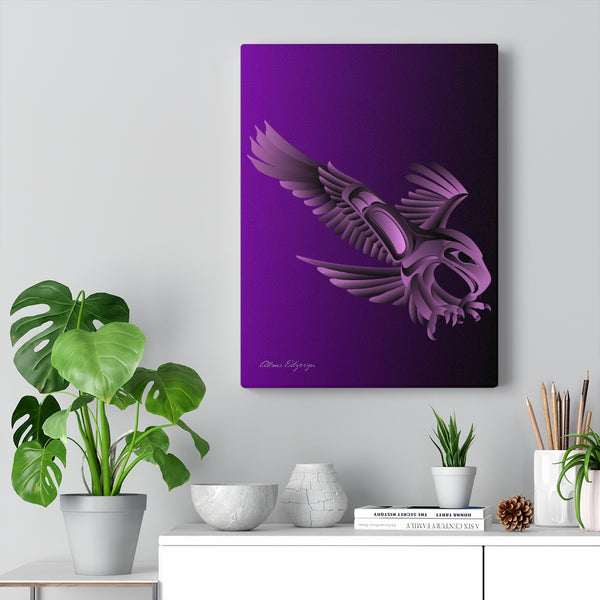Eagle Hunting on Purple Canvas Gallery Wraps