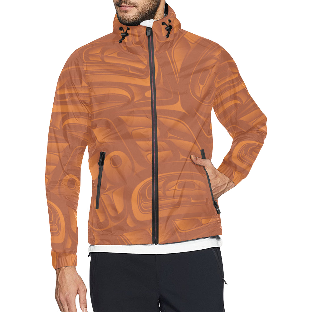 Orange on Orange Nylon Windbreaker Men's All Over Print  Hooded Windbreaker (Model H23)