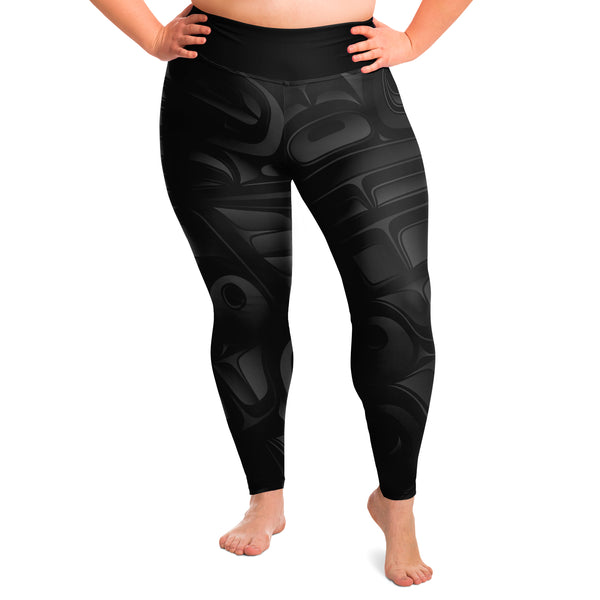 Black Chilkat Design Plus Size Leggings
