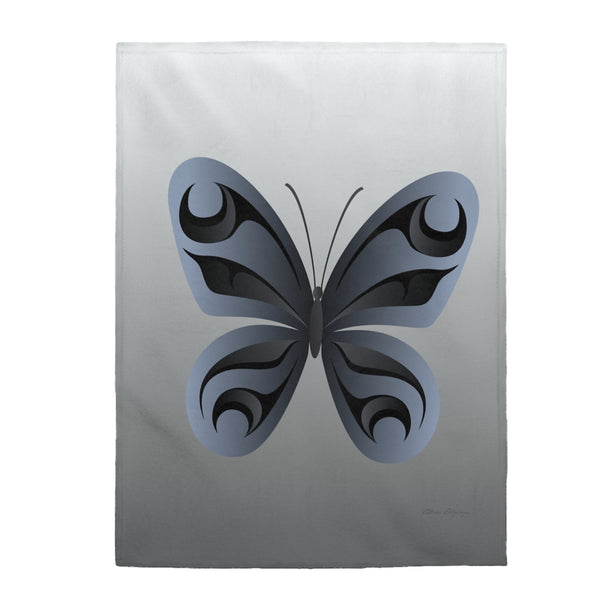 Grey butterfly Velveteen Plush Blanket