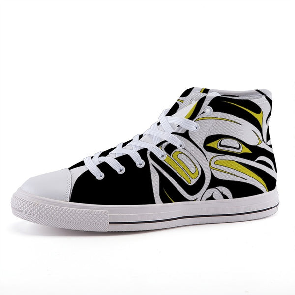 Yellow High-top canvas shoes