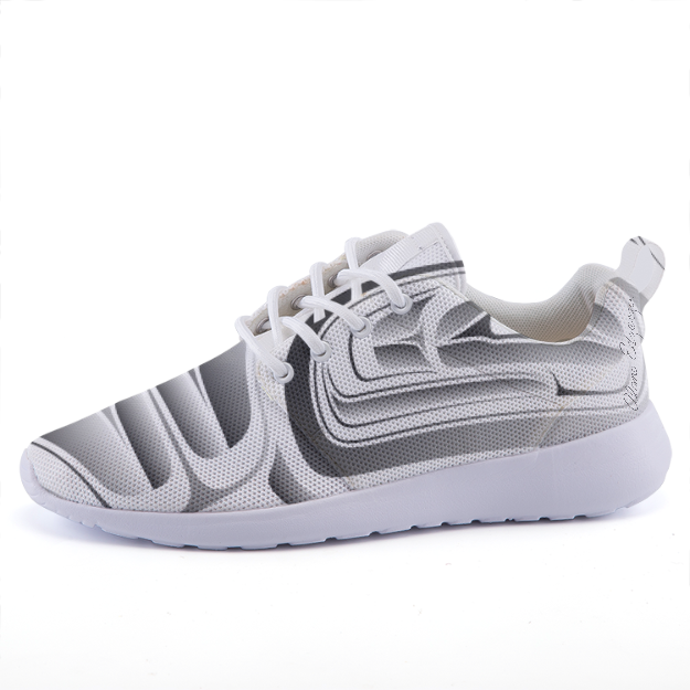 Grey on White lightweight fashion sneakers casual sports shoes