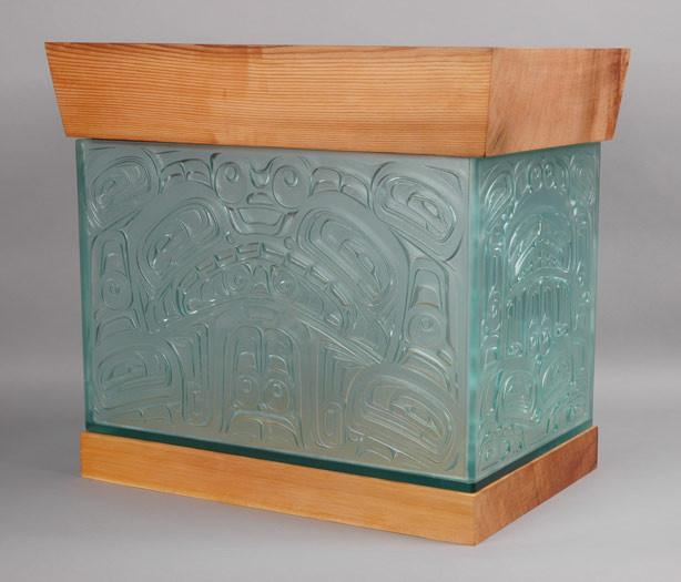 Sea Monster Chest Carved Glass and Cedar