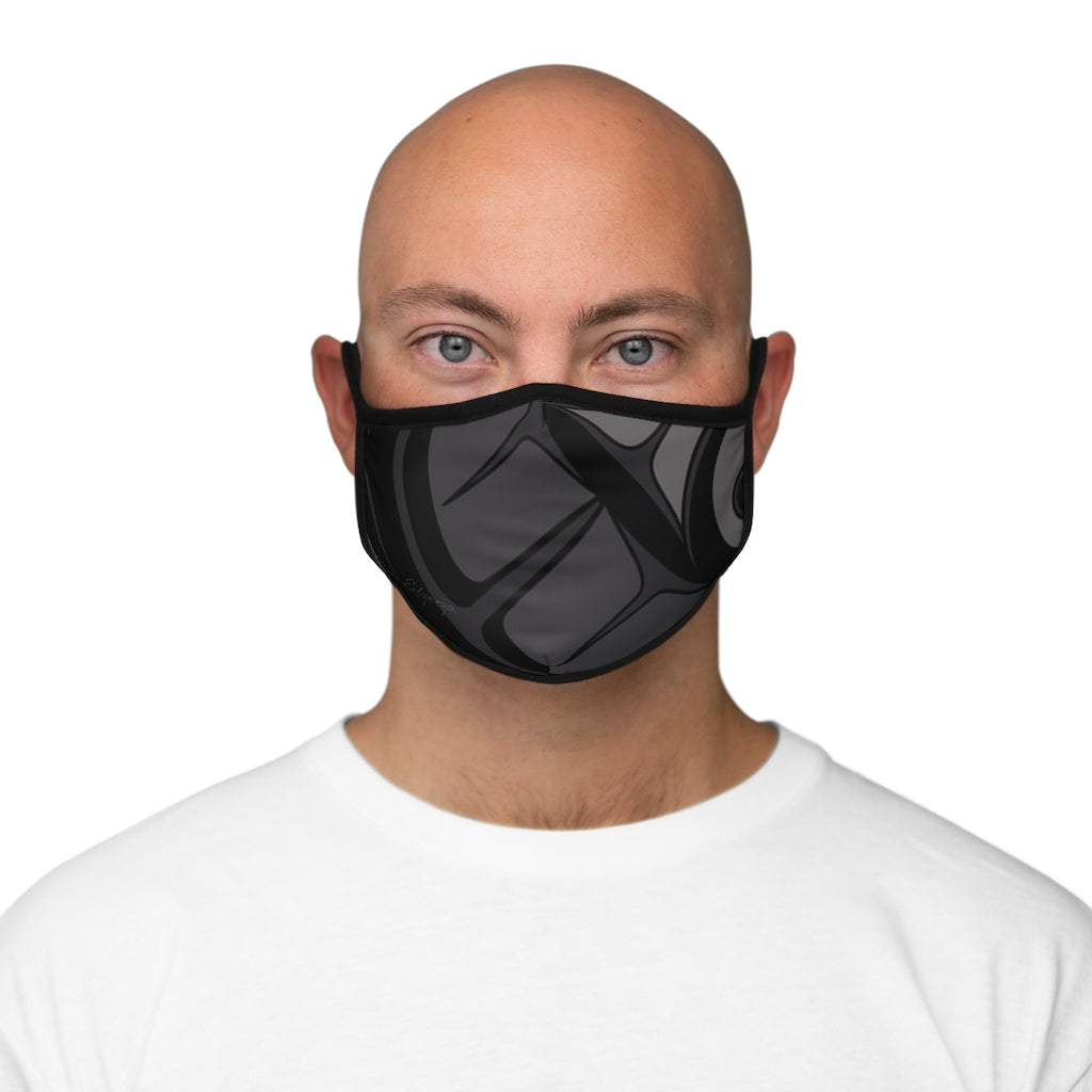 black formline Fitted Polyester Face Mask