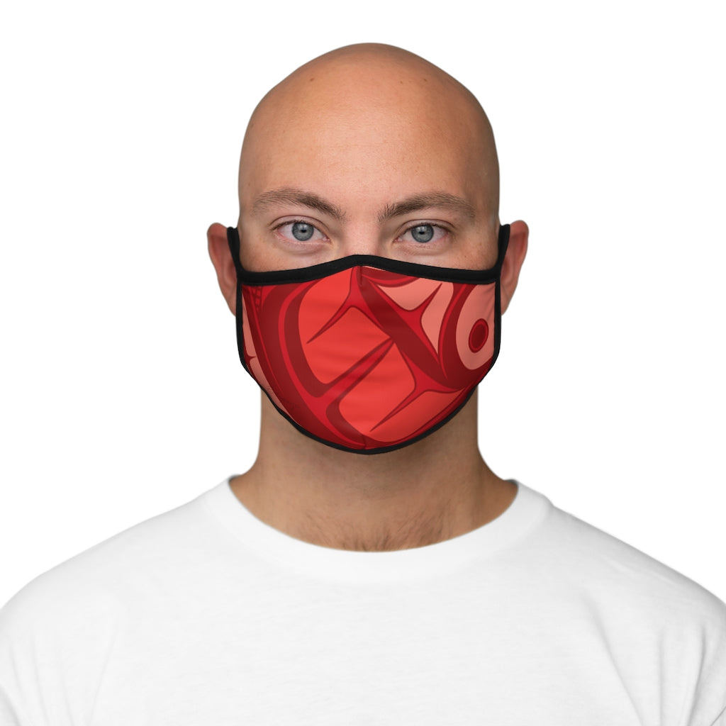 red formline Fitted Polyester Face Mask