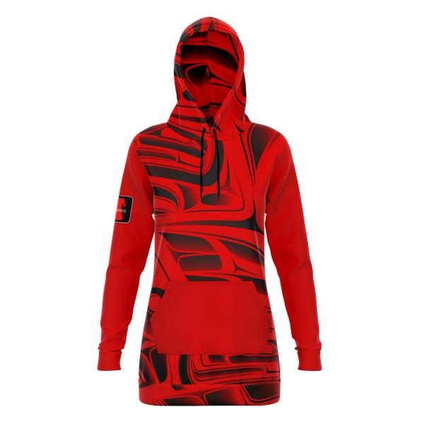 Red Formline cotton poly Hoodie dress