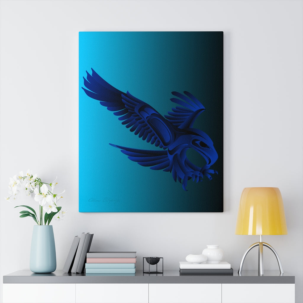 Eagle Hunting on Blue Canvas Gallery Wraps