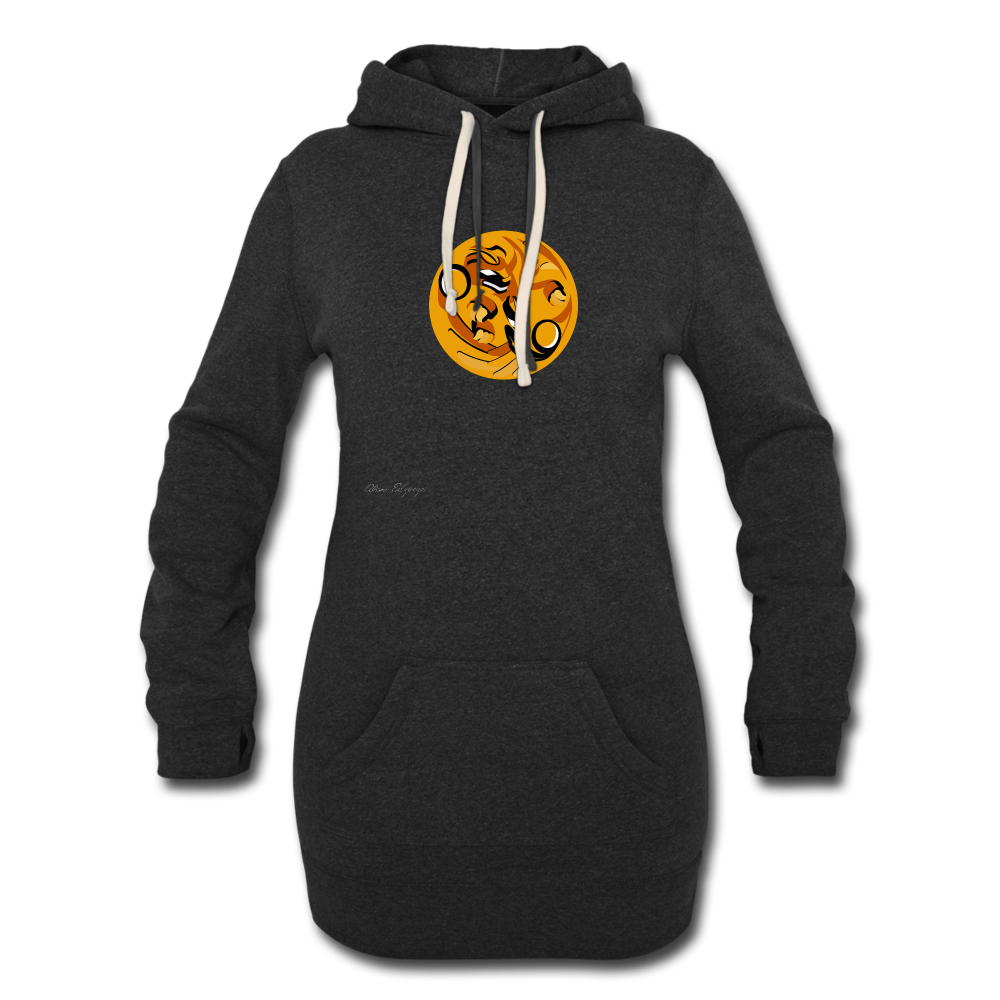 orange frog Women's Hoodie Dress - heather black