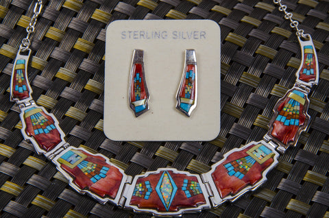 Zuni Style Coral necklace and earring set