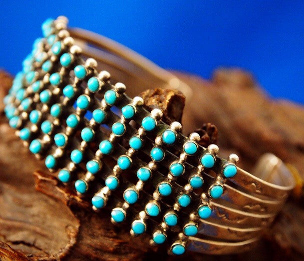 Genuine Zuni Style Turquoise Petit Point Cuff