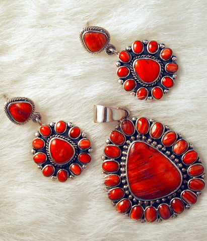 Coral & Spiny Oyster Zuni Style Petit Point Jewelry Set