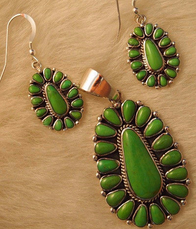 Green Turquoise Earrings and Pendant Set