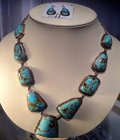 Adjustable Turquoise and Silver Necklace with Earrings