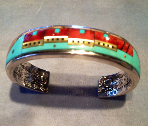 Bracelet with Multicolored stone, Pueblo Design